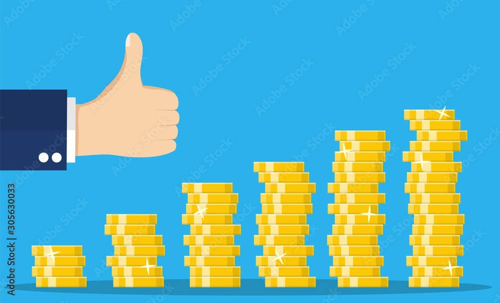 Fototapeta Stack of gold coins and hand with thumb up gesture. Golden coin with dollar sign. Growth, income, savings, investment. Symbol of wealth. Business success. vector illustration in flat style