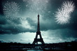 Colorful fireworks in Paris, Eiffel tower.