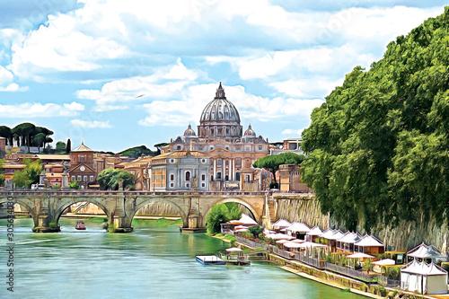 Saint Peter Basilica and Sant'Angelo Bridge, over Tiber river Fotobehang