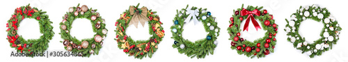 Fotografiet Beautiful Christmas wreath on white background