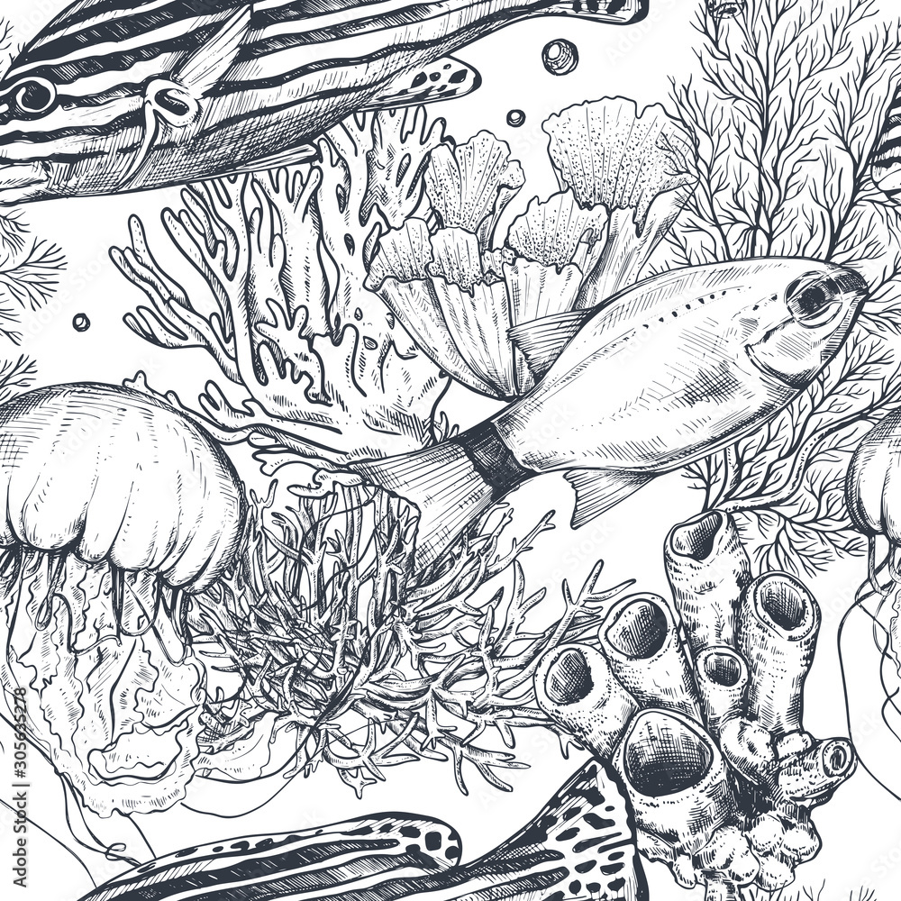Fototapeta Vector monochrome seamless sea pattern with tropical fish