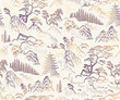 Vector seamless pattern of hand drawn sketches in Japanese and Chinese nature ink illustration sumi-e tradition. Textured fir pine tree, pagoda temple, mountain, river, pond, rock on a beige backgroun