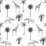 Akwarela bezszwowe wzory ze zwierzętami safari i palmami. Żyrafa słonia. - 305635895
