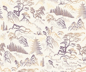 Vector seamless pattern of hand drawn sketches in Japanese and Chinese nature...