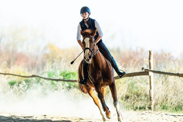 Young pretty girl riding a horse in autumn