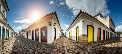Panoramic stones street with reflection in the historical center of Paraty Canvas Print