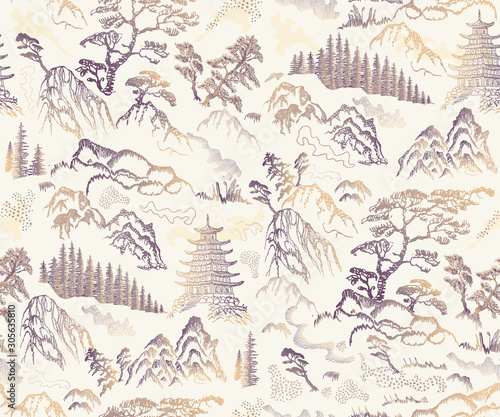Photo Vector seamless pattern of hand drawn sketches in Japanese and Chinese nature ink illustration sumi-e tradition
