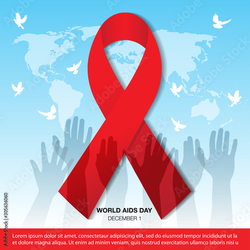 Vector Illustration Of World Aids Day With Aids Awareness Ribbon, World Aids Day Canvas Print