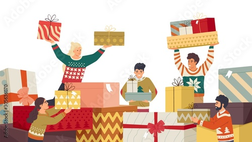 People and New Year gifts flat vector illustration Tablou Canvas