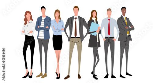 Illustration material: people, business scene, team Wallpaper Mural