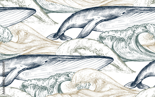 Obraz na płótnie Vector monochrome seamless pattern with ocean waves and whales in sketch style