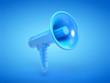 canvas print picture - 3d rendered illustration of a blue megaphone