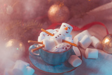 Snowman-shaped Hot Chocolate With Marshmallows