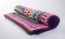 Blanket Or Crochet Blanket On A Background New.