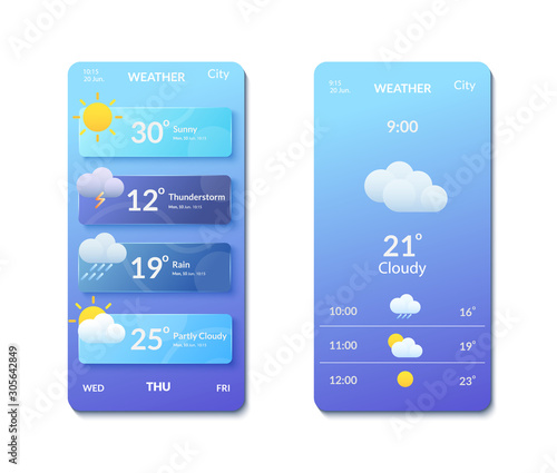 Cuadros en Lienzo Smartphone screens with banners and weather forecast icons.