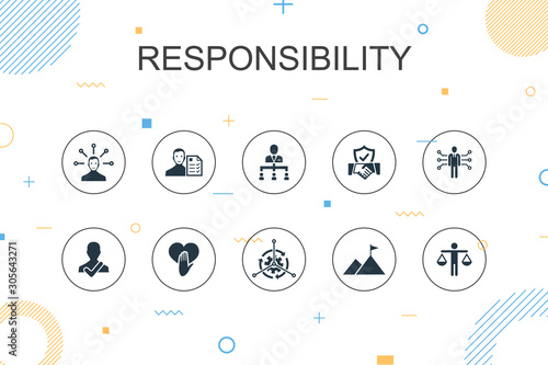 responsibility trendy Infographic template. Thin line design with delegation, honesty, reliability, trust icons