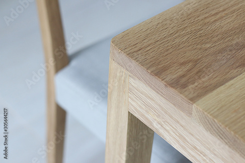 Fototapeta Close up wooden furniture, Oak wood Chair, Furniture detail for interior obraz