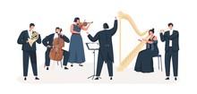 Symphony Orchestra Flat Vector...