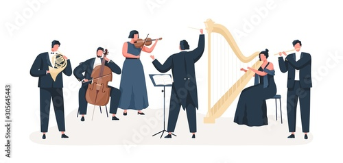 Fotomural Symphony orchestra flat vector illustration