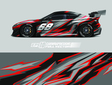Car Wrap Decal Designs. Abstract Racing And Sport Background For Car Livery. Full Vector Eps 10.