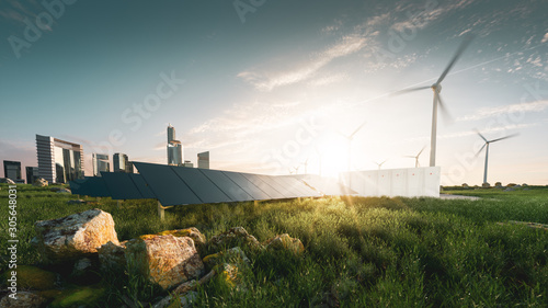 Obraz Concept of sustainable energy solution in beautifull sunset backlight. Frameless solar panels, battery energy storage facility, wind turbines and big city with skycrapers in background. 3d rendering. - fototapety do salonu