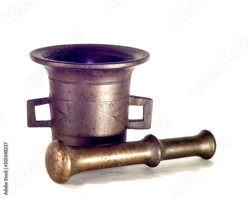 old isolated brass mortar and pestle Wallpaper Mural