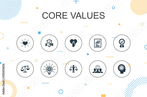 Core values trendy Infographic template. Thin line design with trust, honesty, ethics, integrity icons