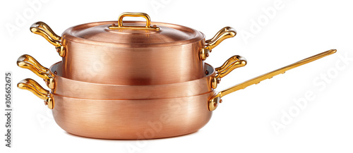 Canvastavla Clean and shiny copper pot isolated on white background
