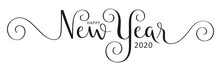HAPPY NEW YEAR 2020 Black Vector Brush Calligraphy Banner With Flourishes