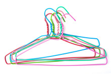 Clothes Hanger, Colorful Hangers Isolated On White Background, Plastic