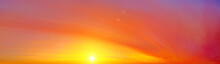 Sunset Sky Panorama Landscape Background Natural Color Of Evening Landscape With Yellow Setting Sun Light Coming Through Orange And Red Clouds Ultra Wide Panoramic Wallpaper Cloudscape View