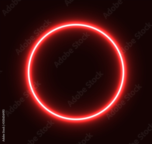 Obraz Neon red circle glowing for advertisement and banner. Eps 10 - fototapety do salonu