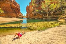 Tourist Woman Sunbathes On Gol...
