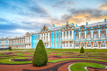 The Catherine Palace, Located In The Town Of Tsarskoye Selo (Pushkin), Saint Petersburg, Russia. Tsarskoe Selo, Built For Empress Elizabeth By Bartolomeo Rastrelli. Russian Residence Of Romanov Tsars
