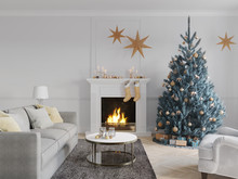 3D-Illustration. Christmas Scene With Decorated Tree And Fireplace.