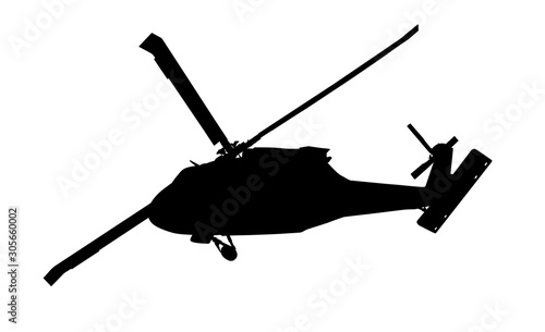 Helicopter vector silhouette Wallpaper Mural