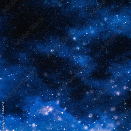 Spoed Fotobehang Nacht Stars, planet and galaxy in cosmos universe, space and time travel science background