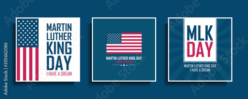 Martin Luther King Day celebrate cards set with United States national flag Canvas Print