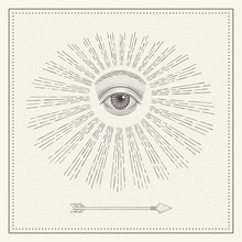 Vector All-seeing Eye, Eye In The Sky With Light Ray, Symbol Of The Masons, Illuminati, Monochrome Hand Drawn Sketch