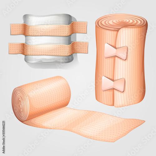 medical gauze and bandage set Canvas Print