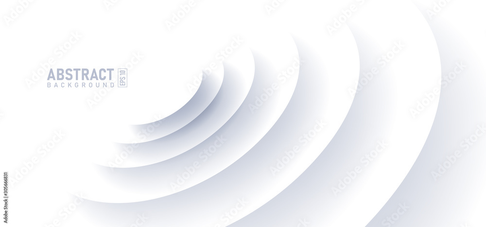 Fototapeta Abstract ripple effect on white background. circle shape with shadow in paper cut style vector illustration.
