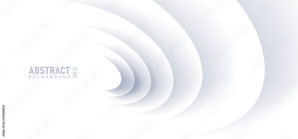 Fototapeta Abstract ripple effect on white background. circle shape with shadow in paper cut style illustration.