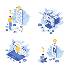 Set Of Customer Support Concept With Laptop, Computer Monitor, Phone Screen And Man. Contact Us. FAQ. Isometric Vector Illustration.
