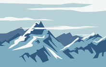 Iceberg Background View In Vector Flat Design Illustration