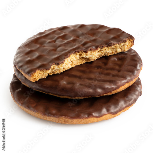 Fotografia, Obraz Stack of two and half dark chocolate coated digestive biscuits isolated on white