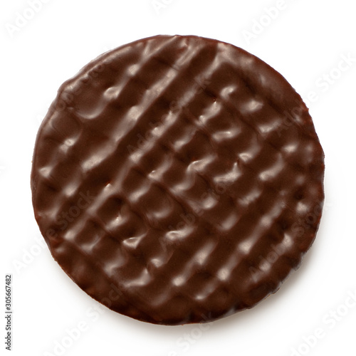 Fotografia Dark chocolate coated digestive biscuit isolated on white