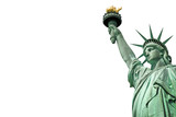 Fototapeta Nowy Jork - Close up of the Statue of Liberty in New York, USA. Isolated on white background with copy space
