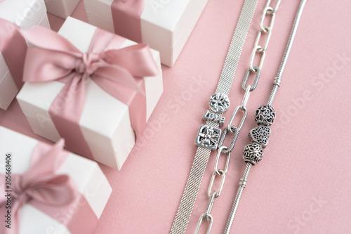 Fotografie, Tablou Gift boxes wiyh powdery ribbon