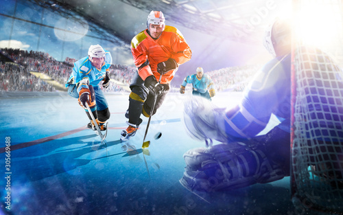 Fotografia  Professional hockey players in action on grand arena