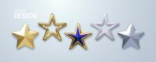 Decorative Stars Set Isolated On White Background. Vector 3d Illustration. Golden Geometric Star Shapes. Christmas Holiday Decoration Elements